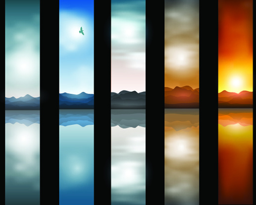 lakes and mountains banner background vector