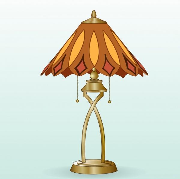 lamp icon colored 3d design elegant classical decor