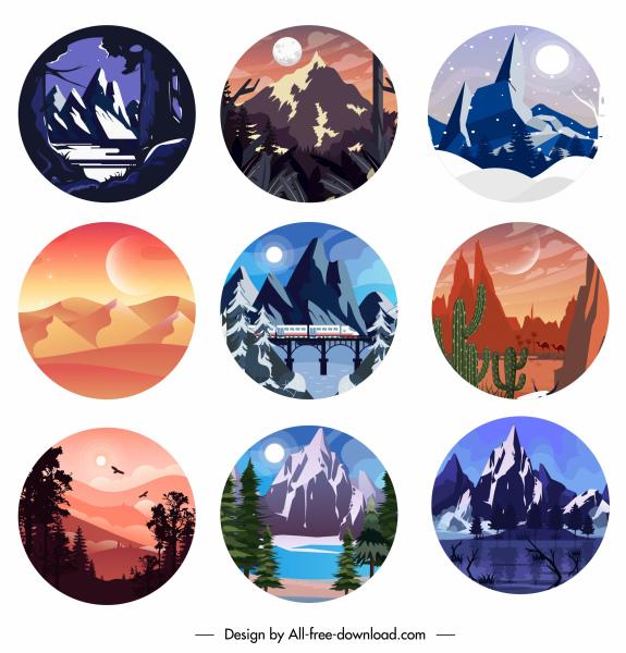 landscape background templates circle isolation classic design