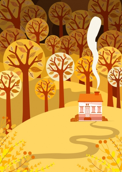 landscape background trees hills house icons classical design