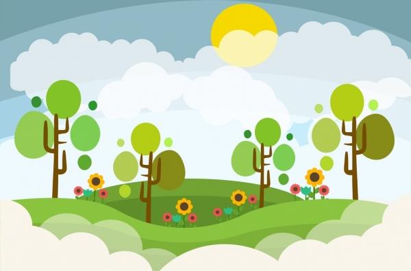 landscape design colored cartoon style
