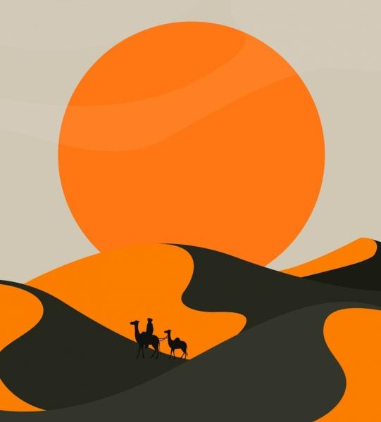 landscape painting desert sun camel icons classical design