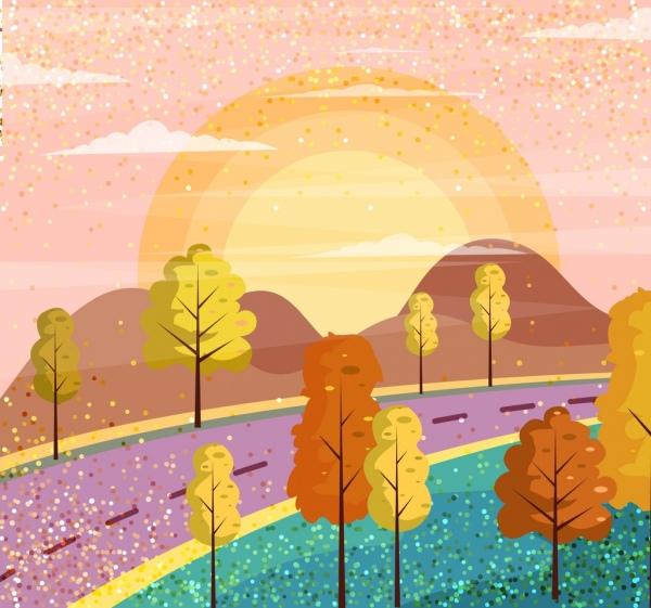 landscape painting road mountain sun icons decor