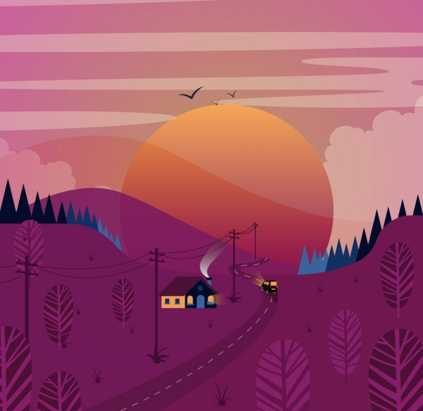 landscape painting violet hill sun road house icons
