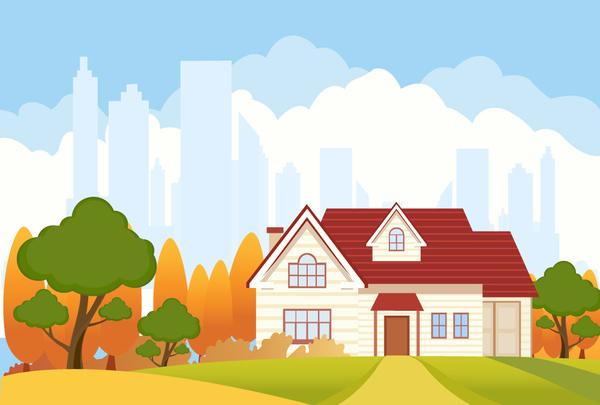 Landscape Illustration Vector Free: Landscape Vector Illustration With City Vignette Free