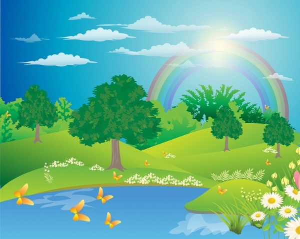 Landscape Illustration Vector Free: Landscape With A Rainbow Free Vector In Adobe Illustrator