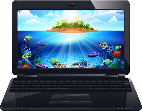 laptop screen with realistic design free vector in adobe illustrator