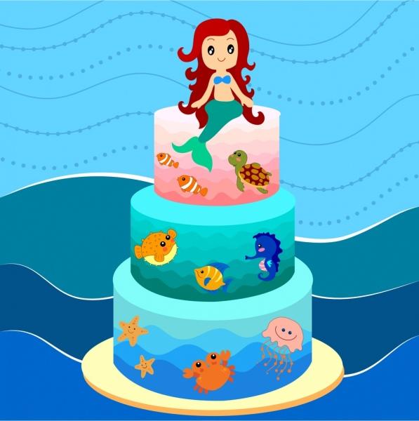 layers cake design marine style cartoon mermaid icon