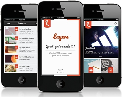 Layers iPhone App Interface PSD