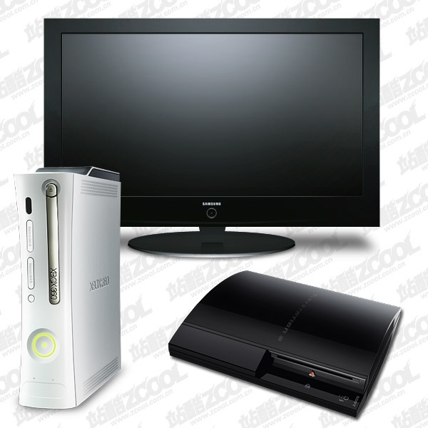 lcd tv ps3 xbox360 game console icon psd layered