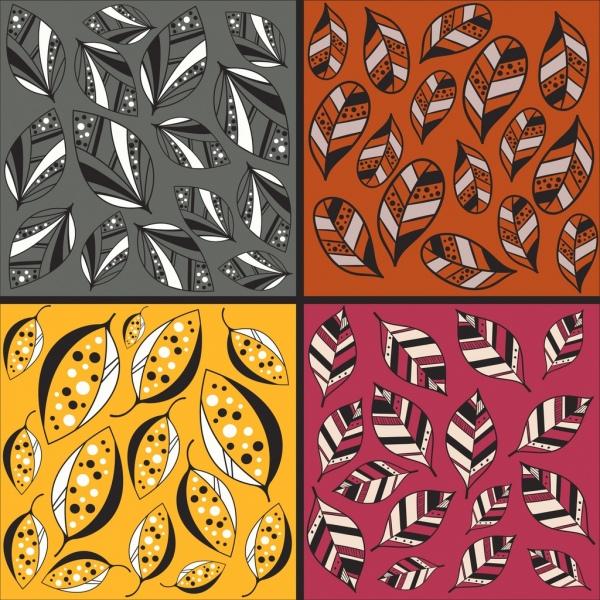 leaf background sets multicolored flat isolation