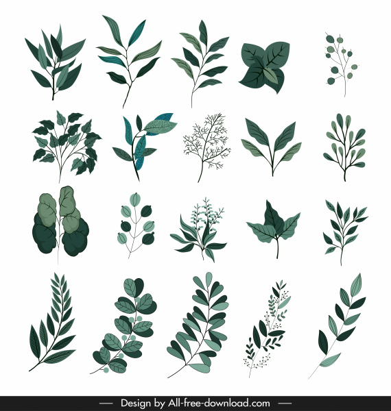 leaf icons collection classic dark green design