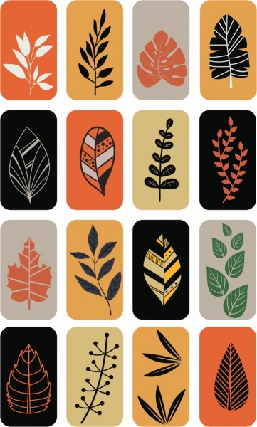 leaf icons isolation multicolored flat design