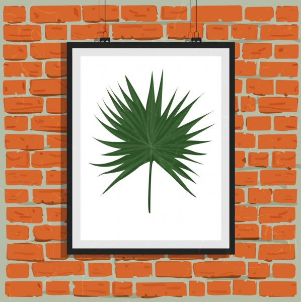 leaf painting decoration classical brick wall backdrop