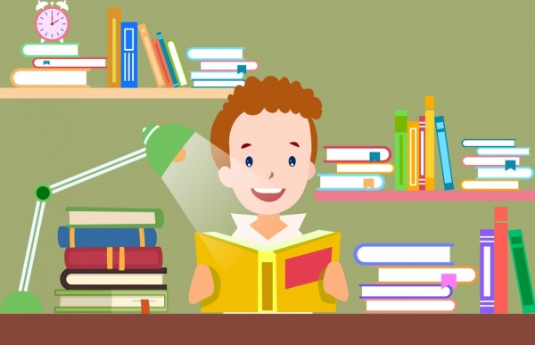 learning drawing boy books shelf lamp icons