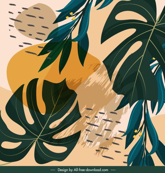 leaves painting retro elegant decor