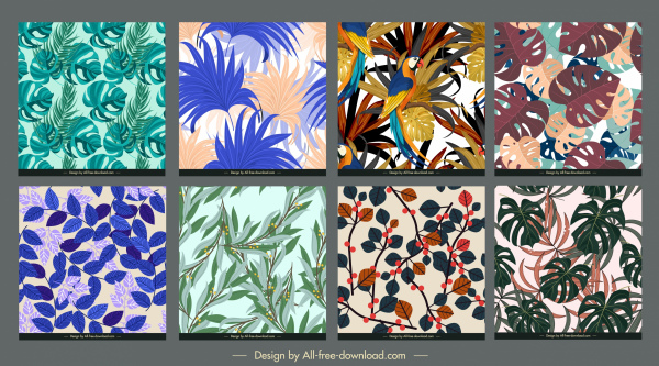leaves pattern templates colorful classical sketch