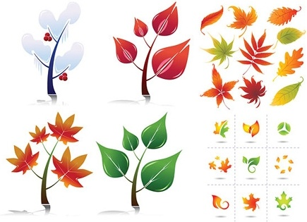 leaves icons collection various colorful styles