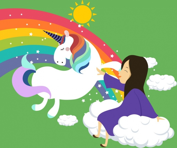 Legendary Background Flying Horse Small Girl Rainbow Icons Free