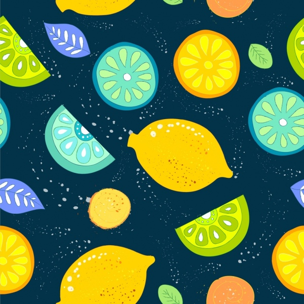 lemon background multicolored slices icons repeating decor