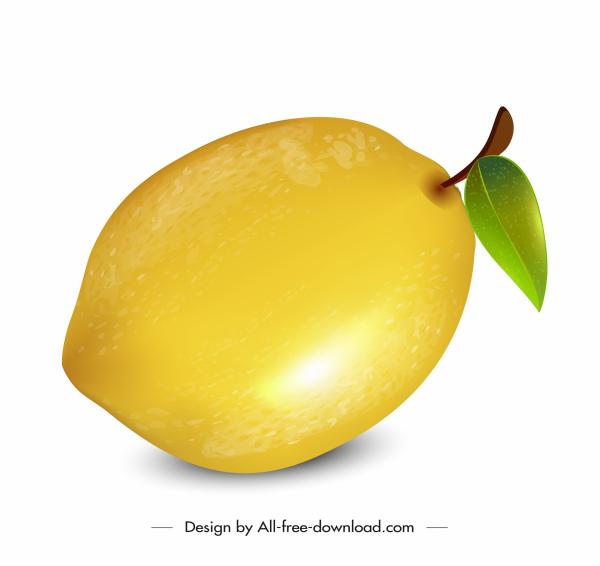 lemon fruit icon shiny bright yellow design