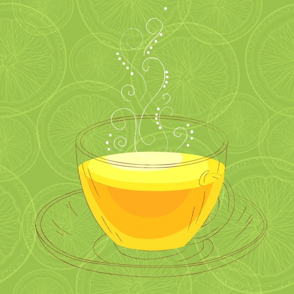 lemon tea advertisement cup sketch green slices background