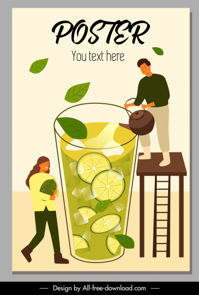 lemon tea advertising poster huge glass cartoon sketch
