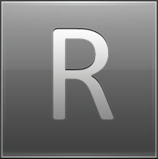 Letter R grey