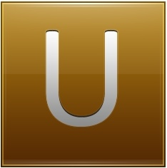 Letter U gold