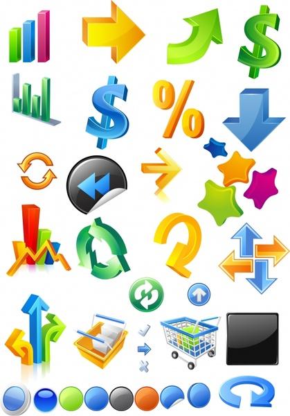 sales design elements shiny colorful 3d icons
