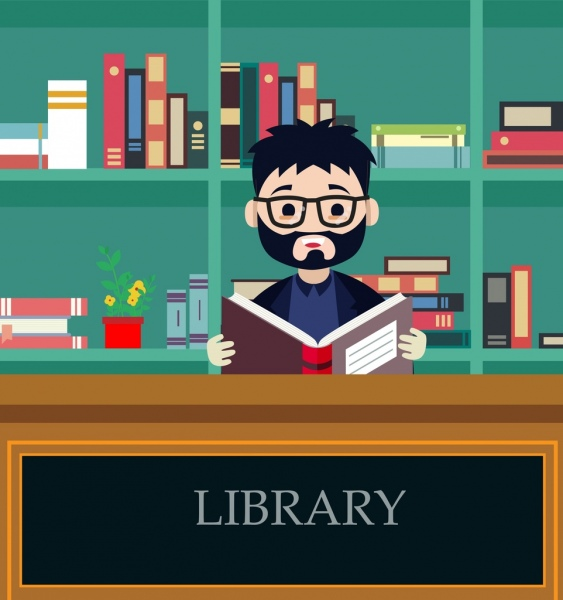 library background man reading book icon colored cartoon