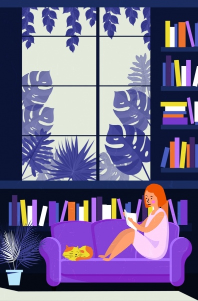 library drawing woman reading book colored cartoon design