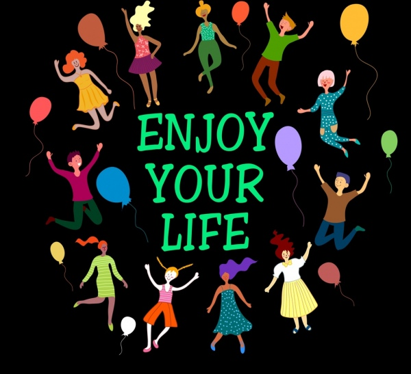 life banner joyful people icons colored dark design