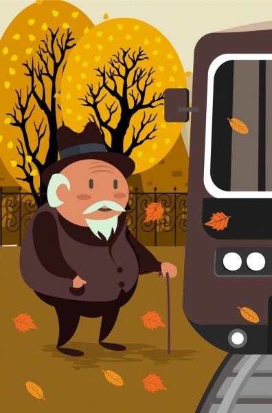 life drawing old man falling leaves bus icons