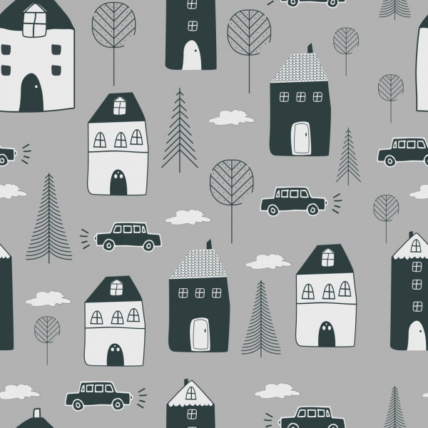 life pattern classical handdrawn design house car icons