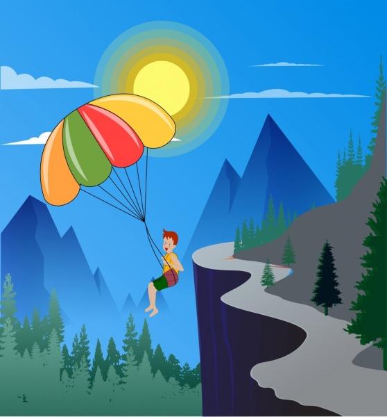 lifestyle background boy parachute mountain icons cartoon design
