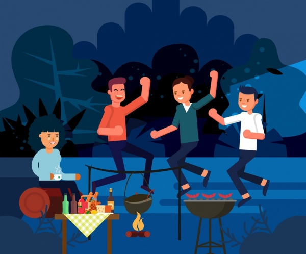 lifestyle background cheering friends outdoor camping icons