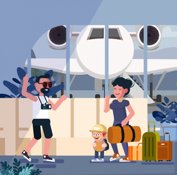 lifestyle background family trip airplane luggage icons