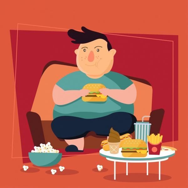 lifestyle background fat boy fast food icons decor