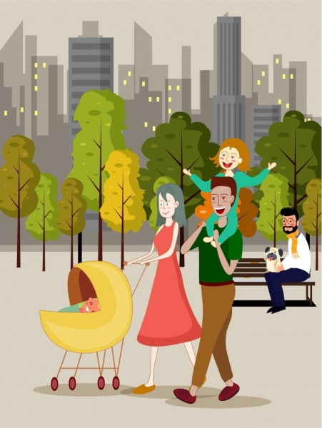 lifestyle background happy family park icons cartoon characters