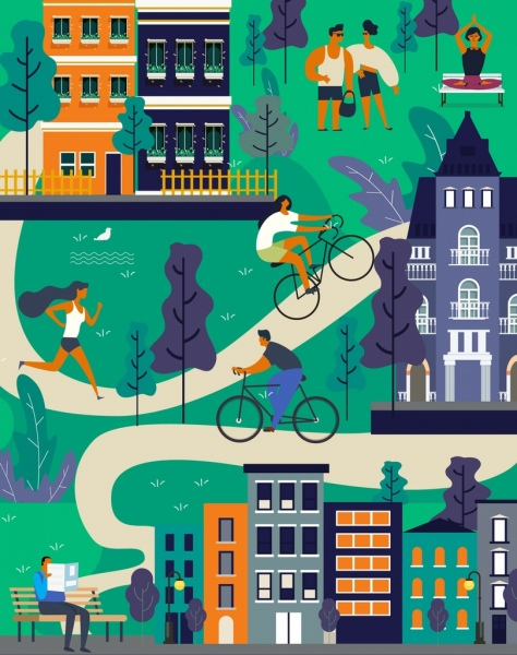 lifestyle background people activities houses park icons