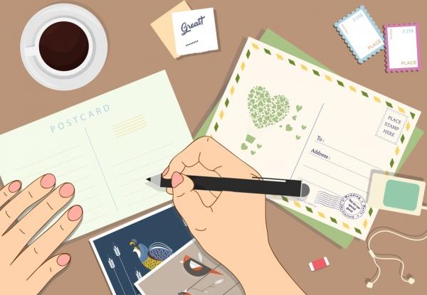 lifestyle background postcard writing theme cartoon design