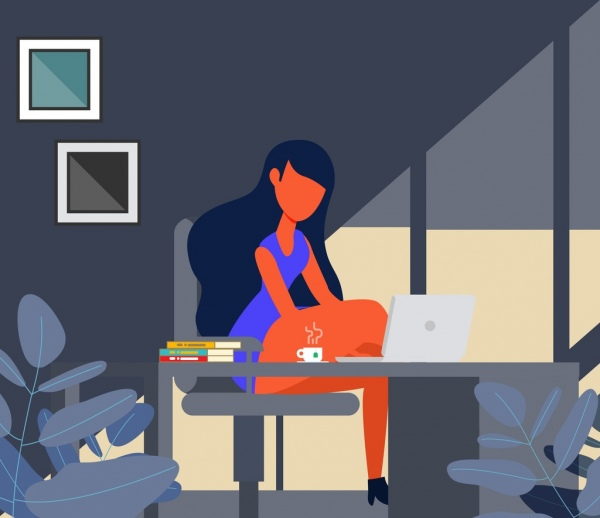 lifestyle background relaxing girl laptop icons cartoon sketch