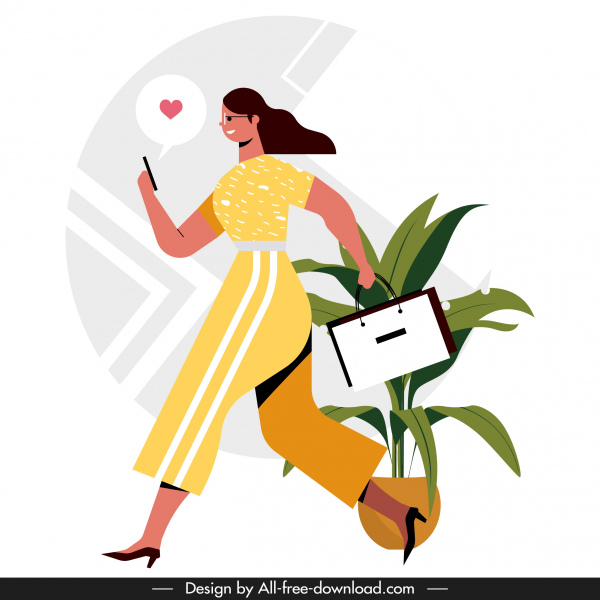 lifestyle background shopping woman smartphone communication sketch