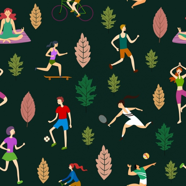 lifestyle background sports activities leaf icons decor