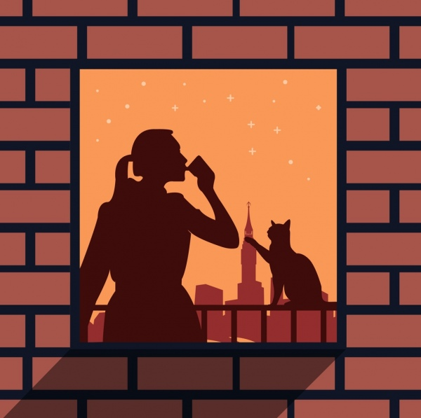 lifestyle background woman cat window icons silhouette decor