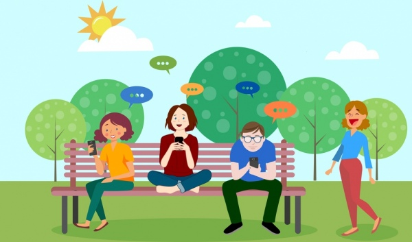 lifestyle background young people smartphone communication cartoon characters