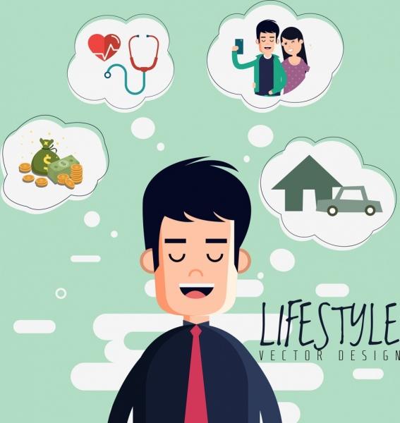 lifestyle banner man dream speech baubles colored cartoon