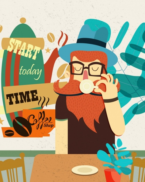 lifestyle banner man drinking coffee icon colored cartoon