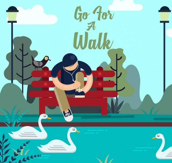 lifestyle banner relaxing man park icons cartoon design